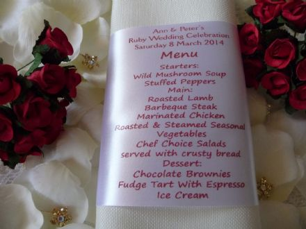 Ruby Wedding Personalised MENU and PLACE SETTING Napkin Ribbon